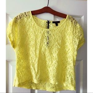Material Girl Yellow lace crop top